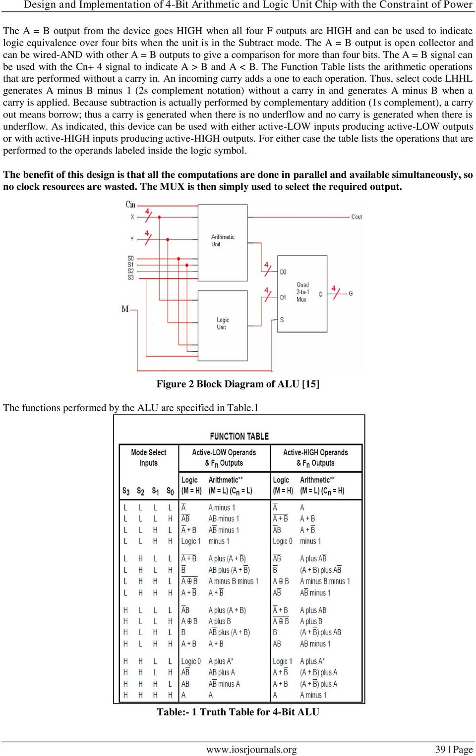 Design And Implementation Of 4 Bit Arithmetic Logic Unit Chip 1 Alu Block Diagram The A B Signal Can Be Used With Cn To Indicate