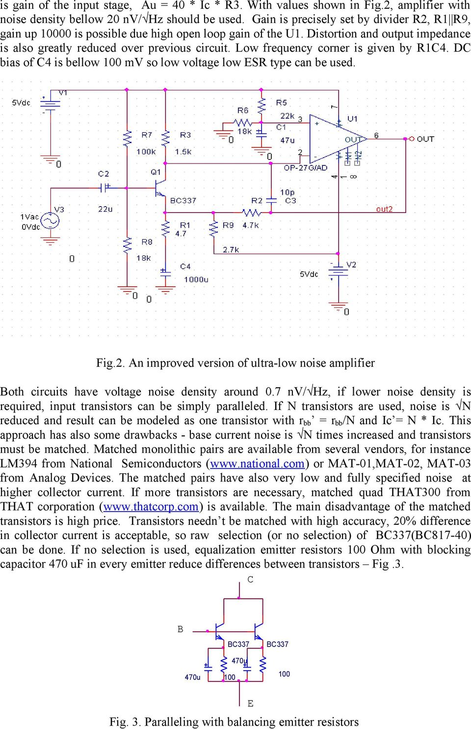 Design Of Ultra Low Noise Amplifiers Pdf Circuit Dynamic Power Amplifier With Ic Dmos Tda7294 Bridge Frequency Corner Is Given By R1c4 Dc Bias C4 Bellow 1 Mv