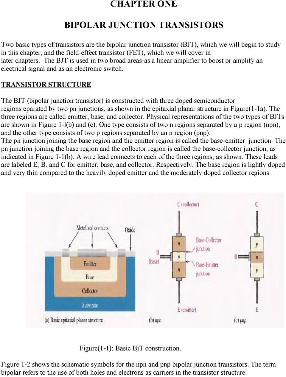 Chapter One Bipolar Junction Transistors Pdf Dc Voltage Grounded With Ac Input Electrical Transistor Structure The Bjt Is Constructed Three Doped Semiconductor Regions