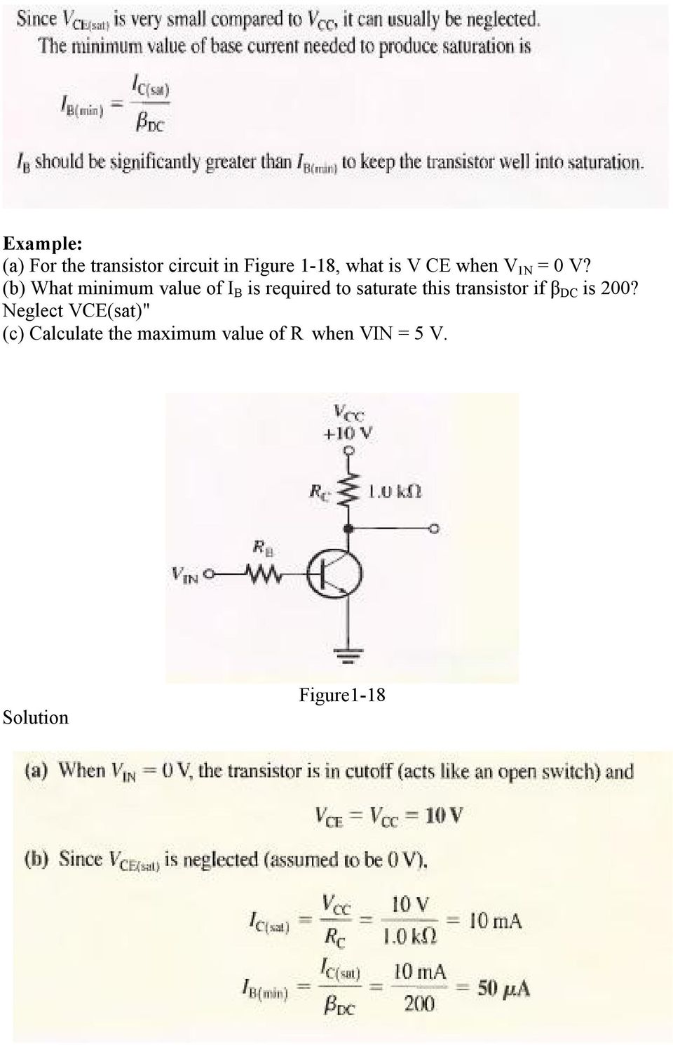 Chapter One Bipolar Junction Transistors Pdf The Transistor Act Like As A Switch When In On B What Minimum Value Of I Is Required To Saturate This 18 Simple Application