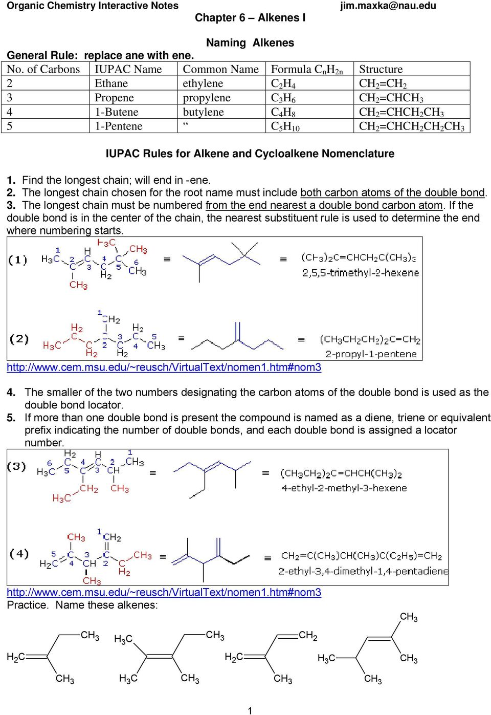 Chapter 6 Alkenes I  IUPAC Rules for Alkene and Cycloalkene
