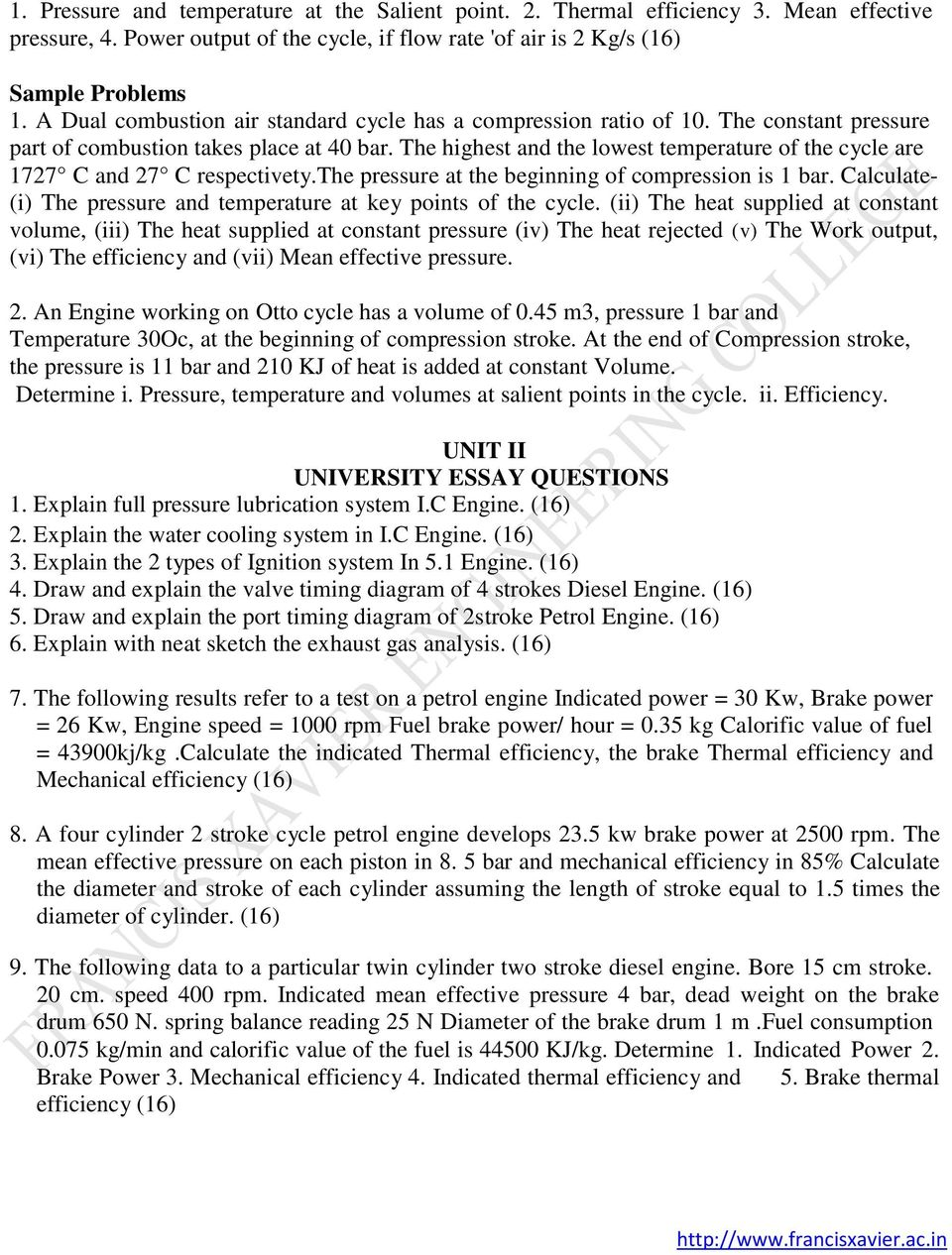 University Essay Questions Pdf Petrol Engine Timing Valve Schematic Diagrams The Highest And Lowest Temperature Of Cycle Are 1727 C 27 Respectivety