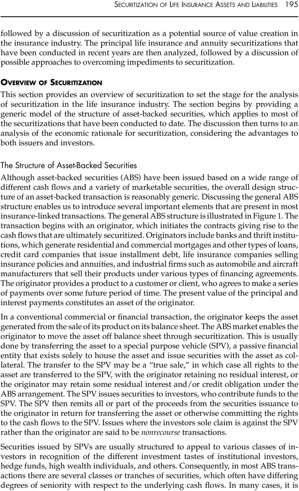 SECURITIZATION OF LIFE INSURANCE ASSETS AND LIABILITIES - PDF