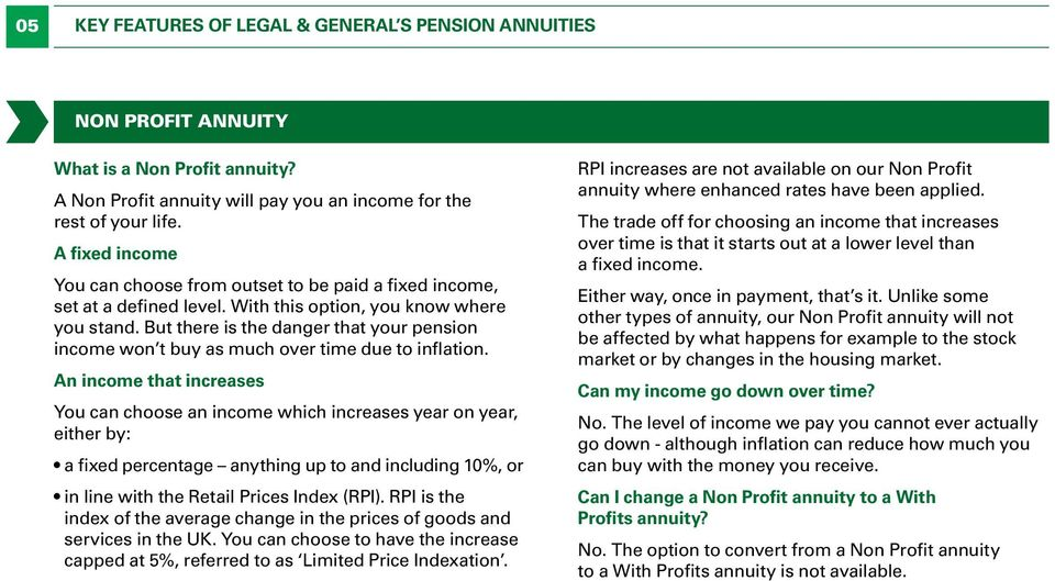But there is the danger that your pension income won t buy as much over time due to inflation.