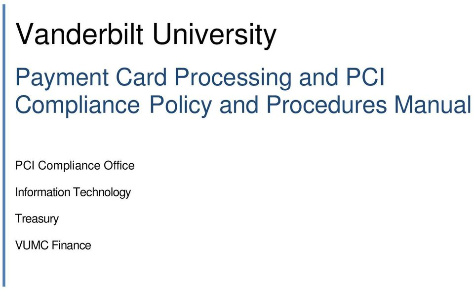 and Procedures Manual PCI Compliance
