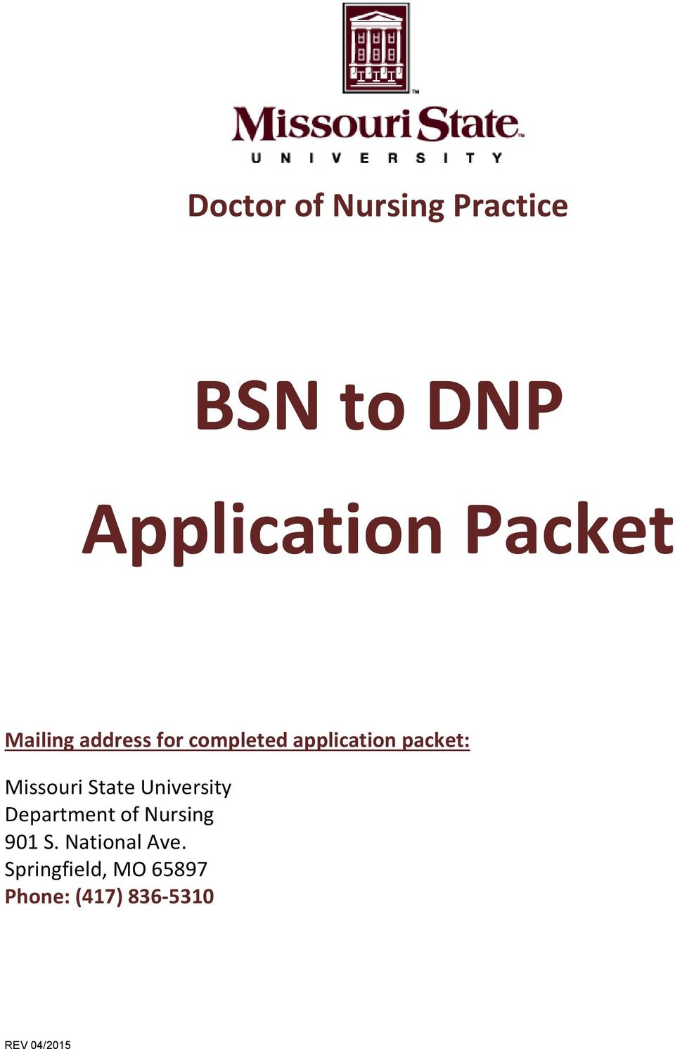 packet: Missouri State University Department of