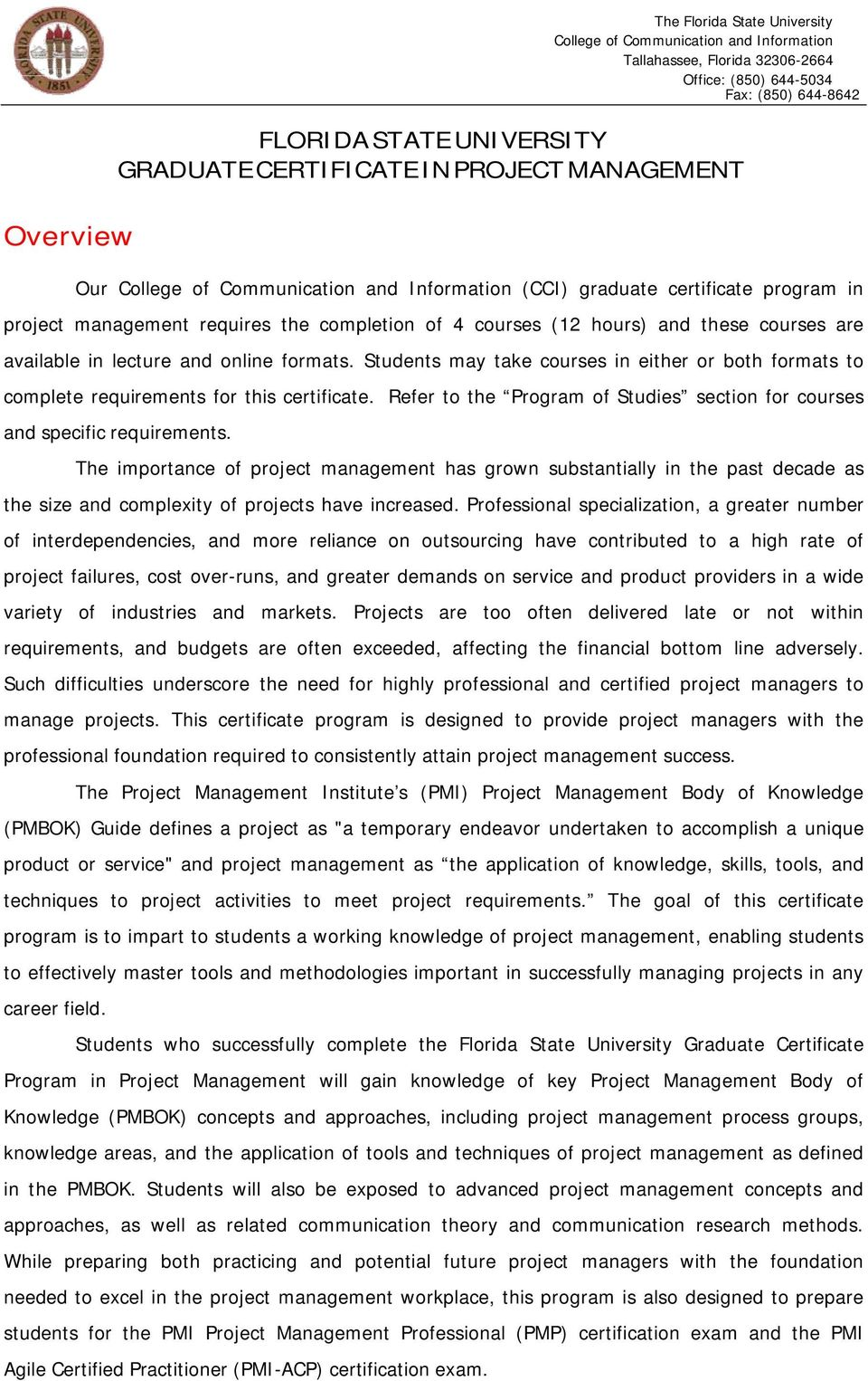 Graduate Certificate Project Management College Of Communication