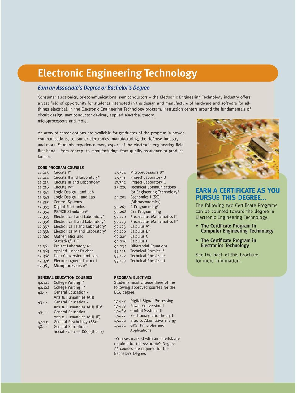 In the Electronic Engineering Technology program, instruction centers around the fundamentals of circuit design, semiconductor devices, applied electrical theory, microprocessors and more.
