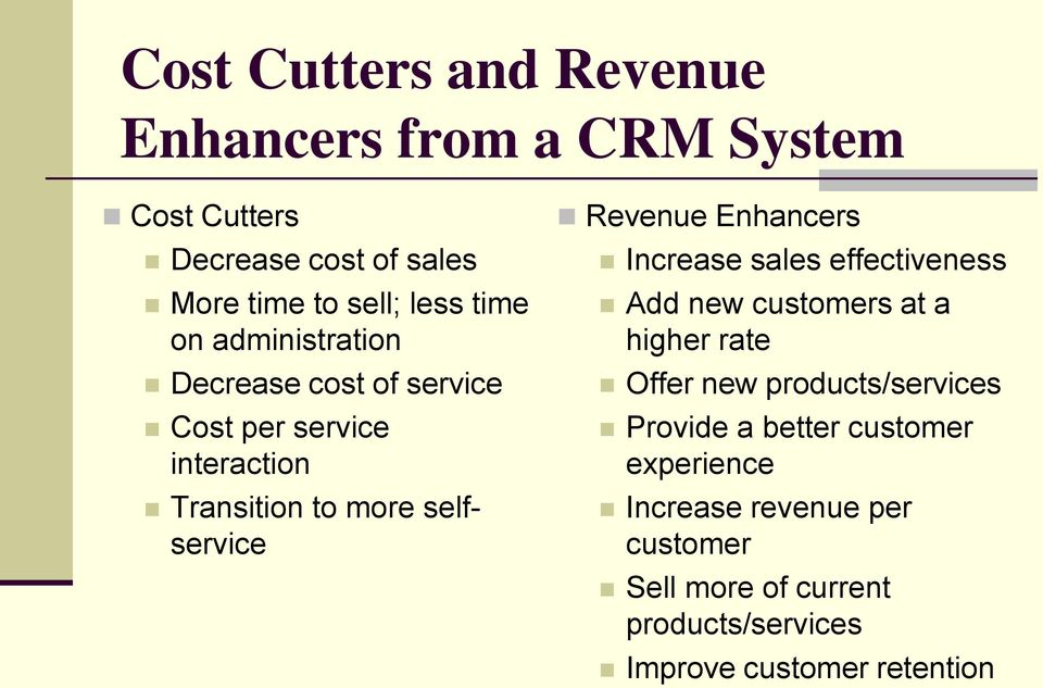 Enhancers Increase sales effectiveness Add new customers at a higher rate Offer new products/services Provide a