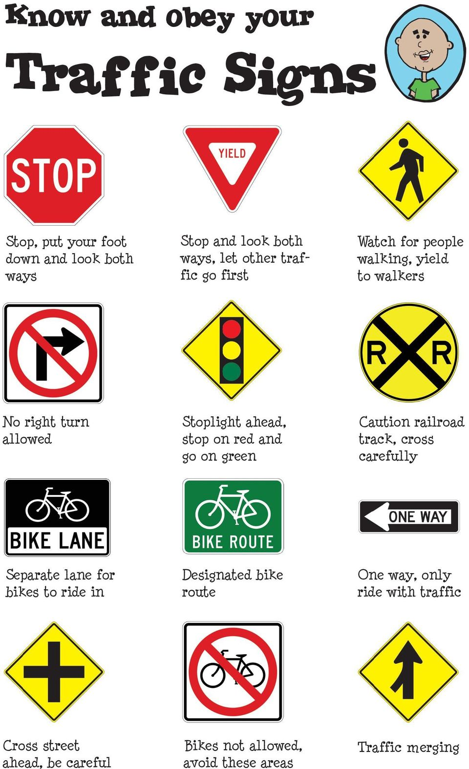 and go on green Caution railroad track, cross carefully Separate lane for bikes to ride in Designated bike route