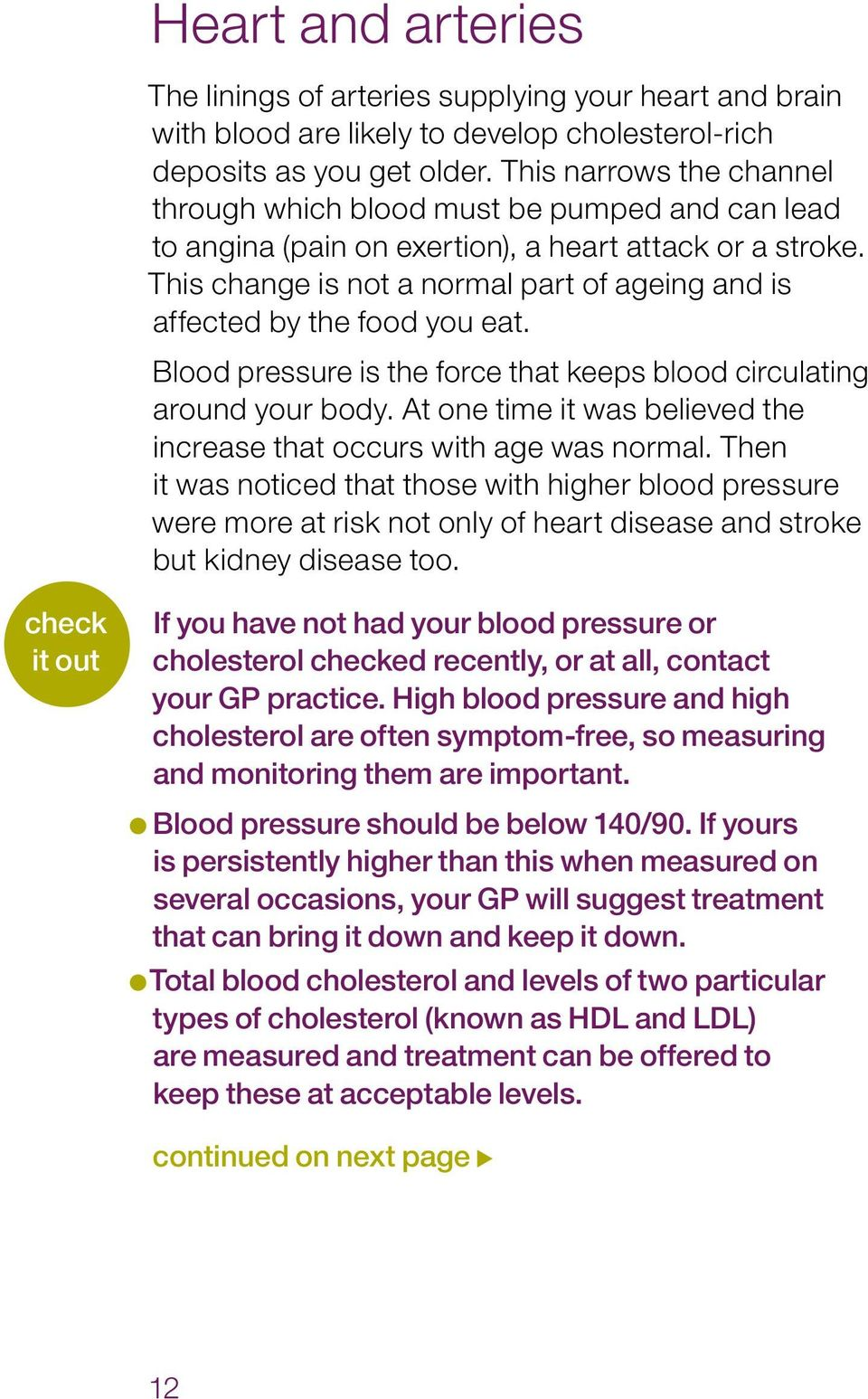 This change is not a normal part of ageing and is affected by the food you eat. Blood pressure is the force that keeps blood circulating around your body.