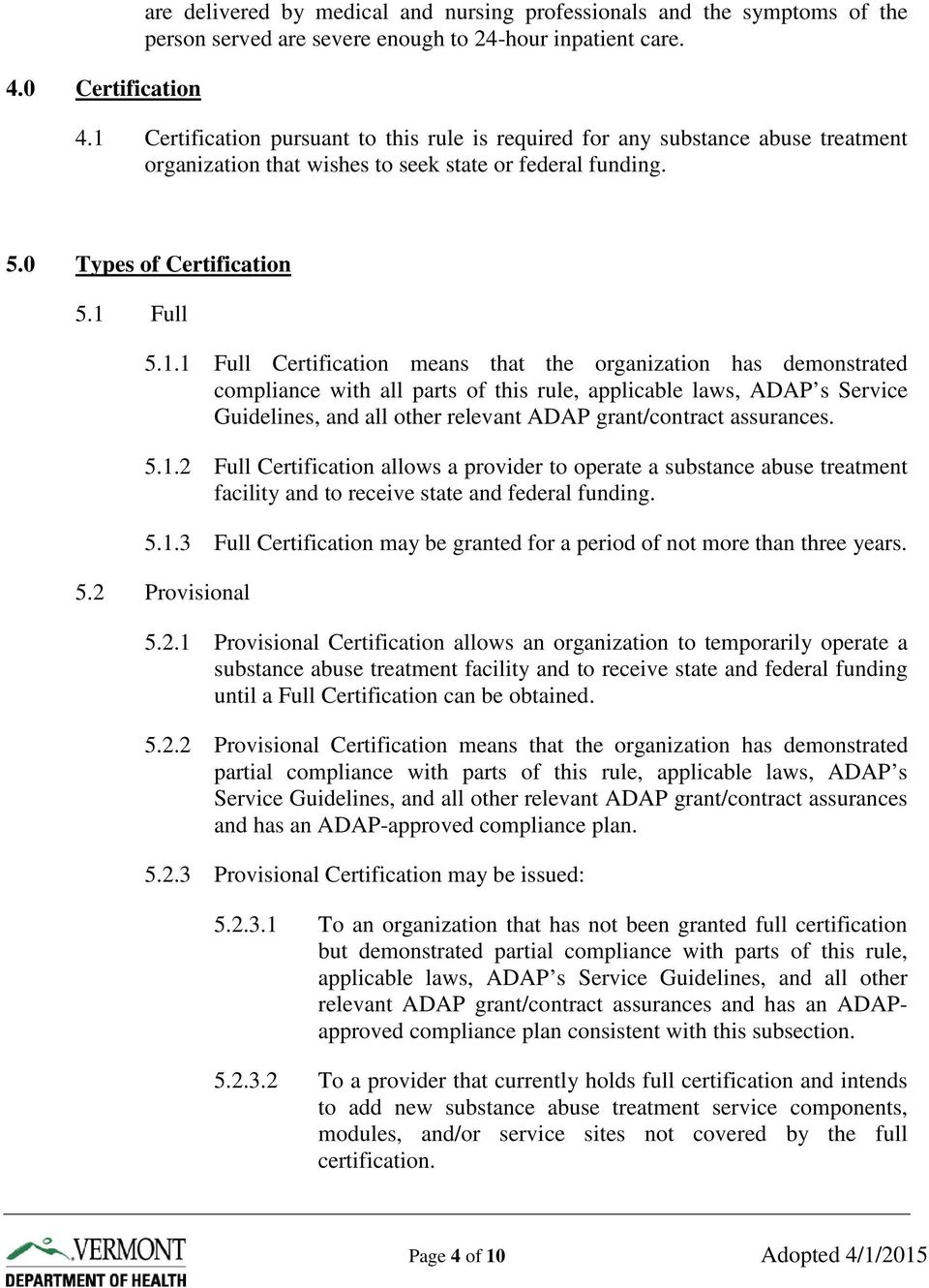 Substance Abuse Treatment Certification Rule Chapter 8 Alcohol And