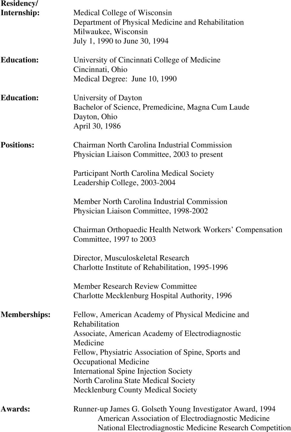 Carolina Industrial Commission Physician Liaison Committee, 2003 to present Participant North Carolina Medical Society Leadership College, 2003-2004 Member North Carolina Industrial Commission