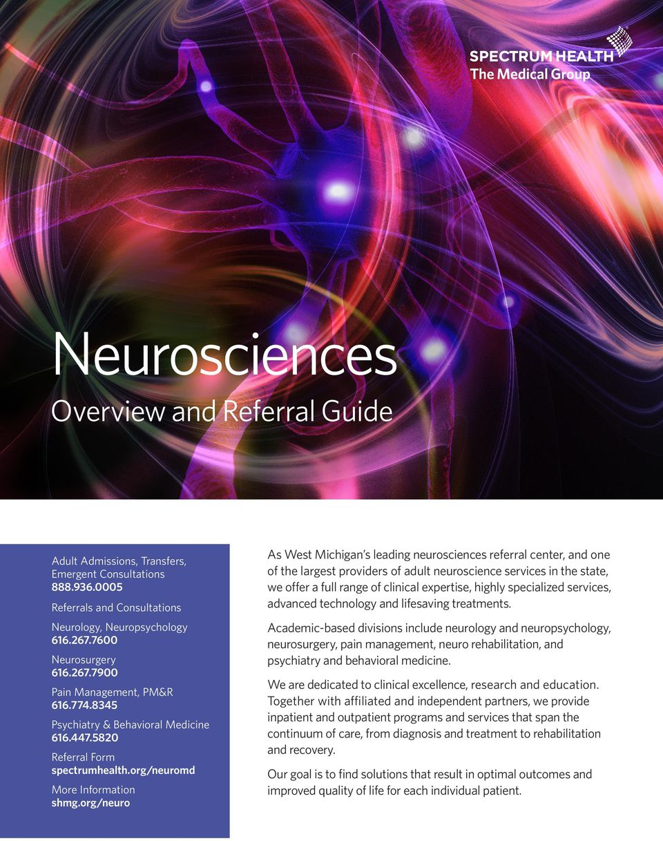 Neurosciences  Overview and Referral Guide - PDF