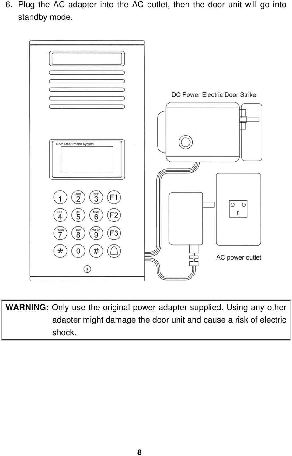 WARNING: Only use the original power adapter supplied.
