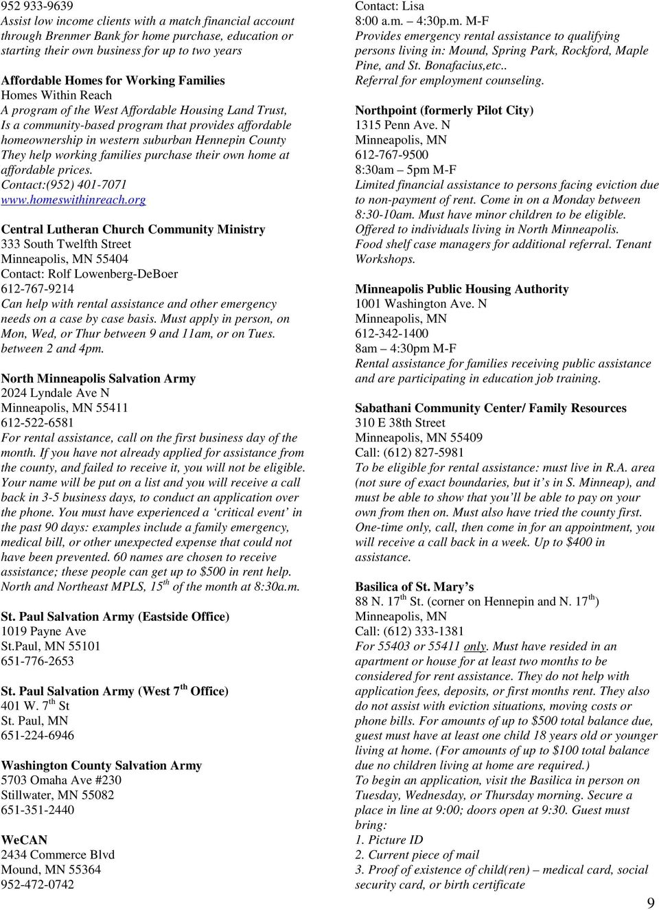 community resources. compiled by: council on crime and justice - pdf