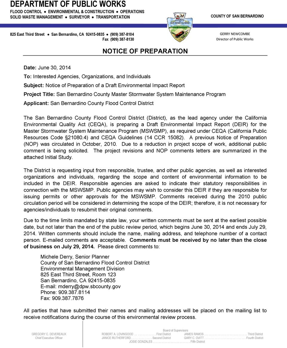 DEPARTMENT OF PUBLIC WORKS FLOOD CONTROL ENVIRONMENTAL