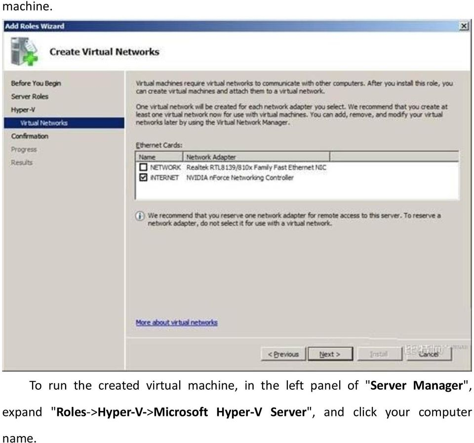 "the left panel of ""Server Manager"","