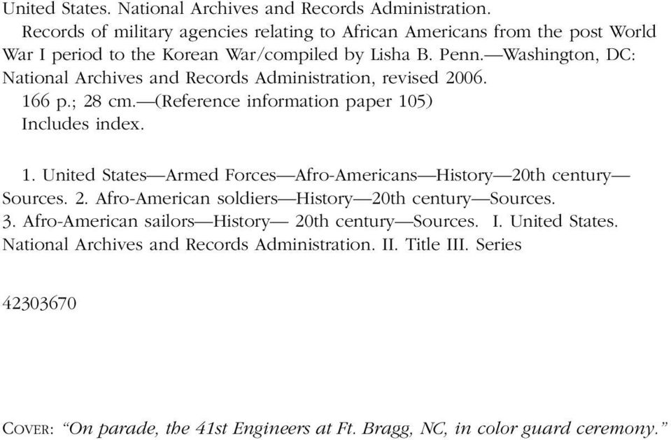 Records of Military Agencies Relating to African Americans