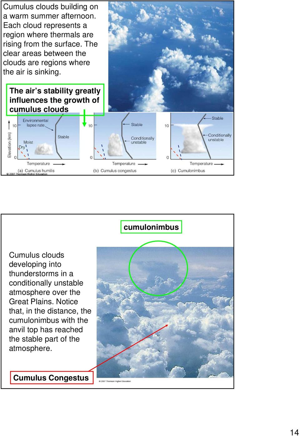 The air s stability greatly influences the growth of cumulus clouds cumulonimbus Cumulus clouds developing into thunderstorms in a