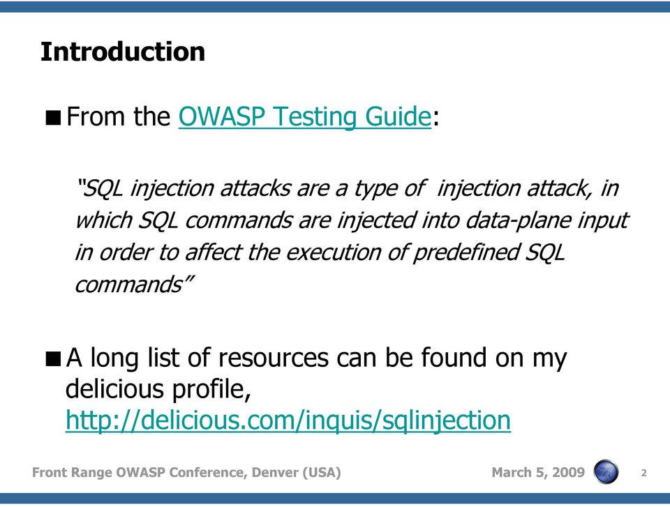 SQL injection: Not only AND 1=1  The OWASP Foundation