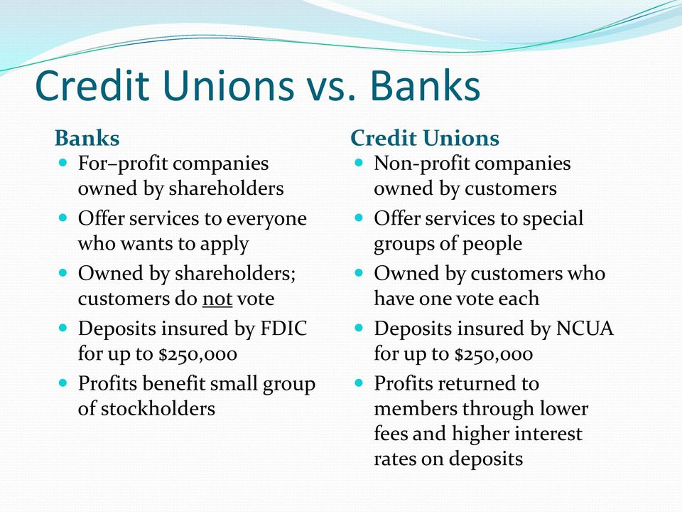 customers do not vote Deposits insured by FDIC for up to $250,000 Profits benefit small group of stockholders Credit Unions