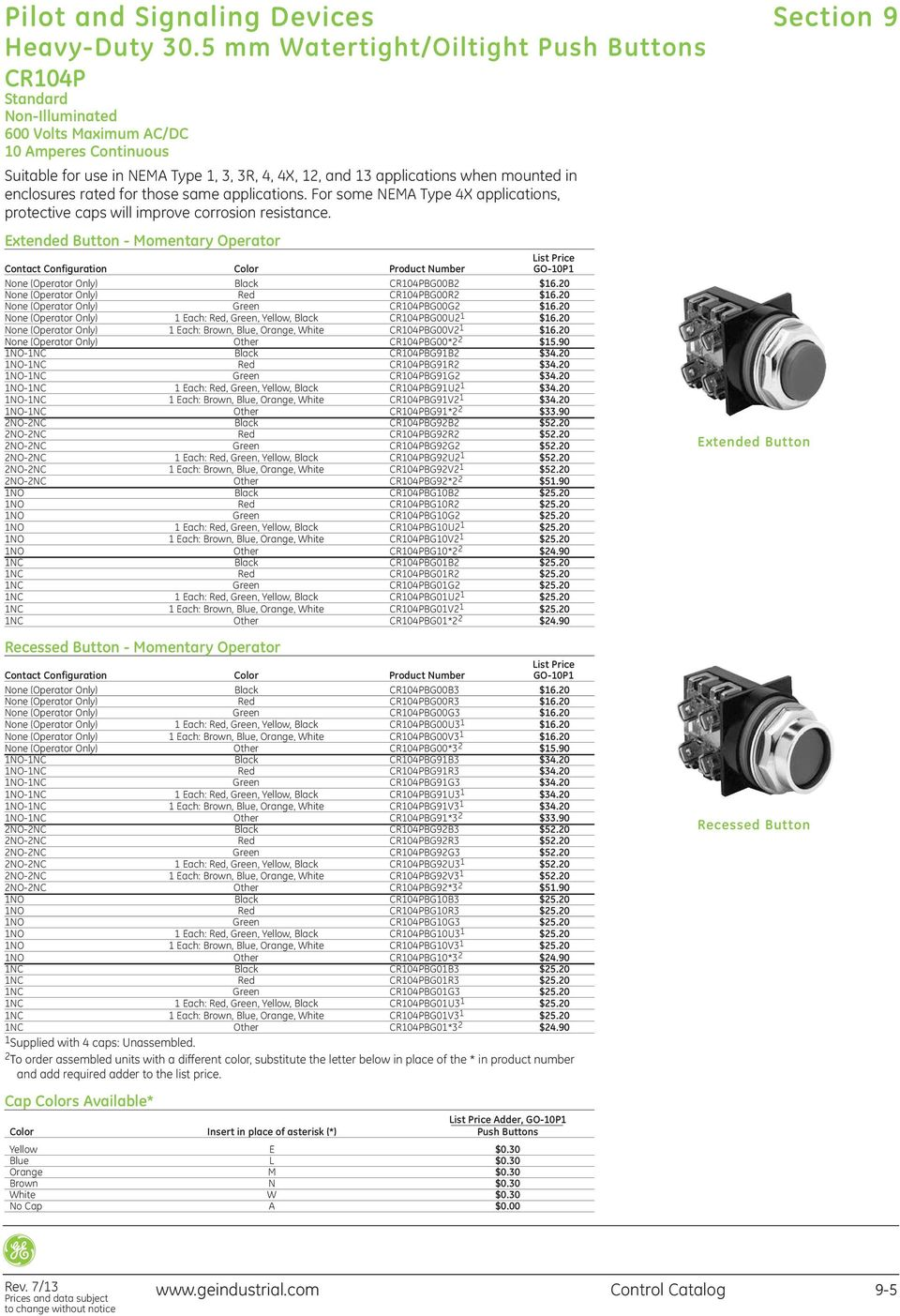 Pilot and Signaling Devices. Section 9. Control Catalog PDF on