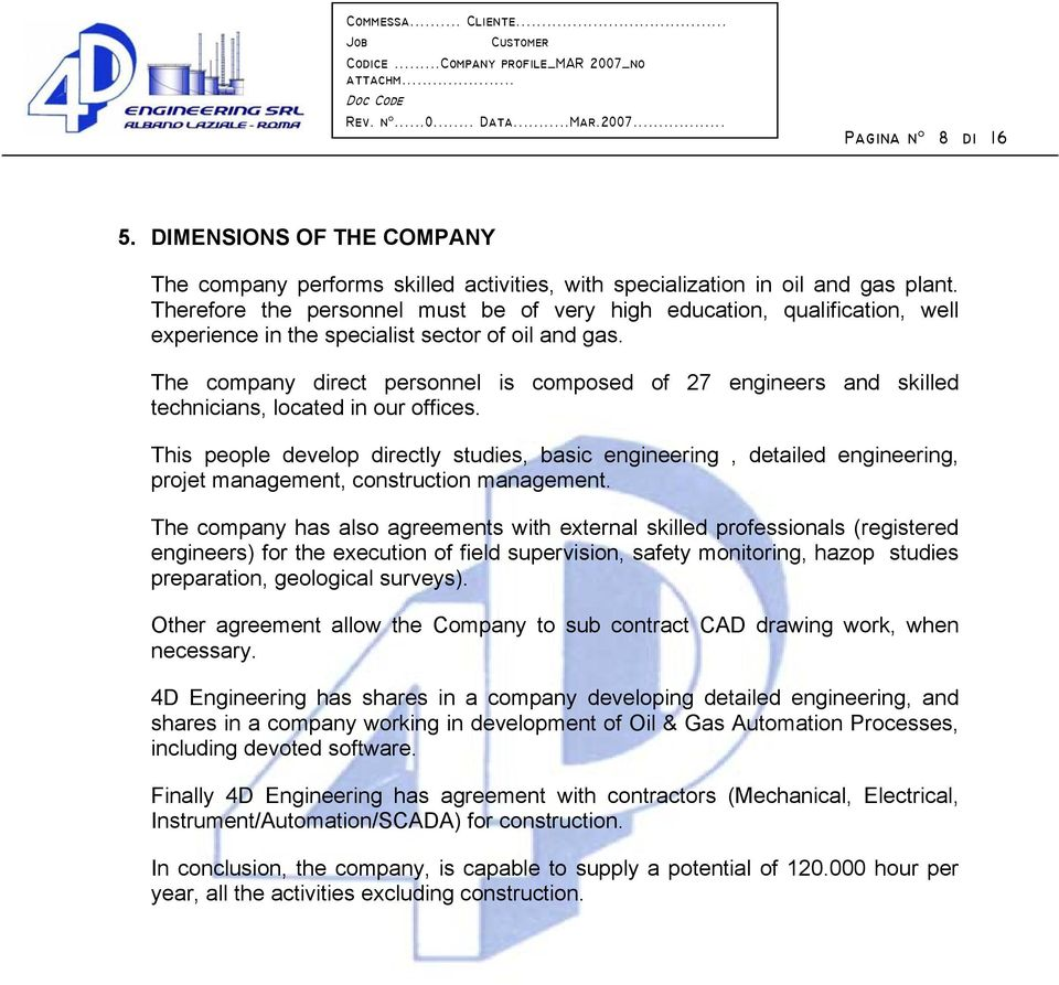 4D ENGINEERING S r l  COMPANY PROFILE - PDF