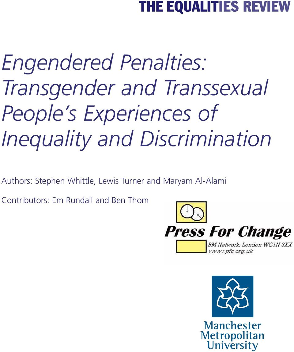 Discrimination Authors: Stephen Whittle, Lewis