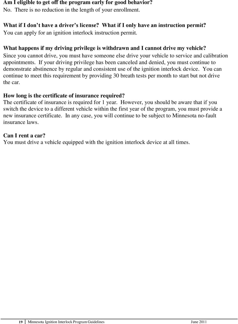 Minnesota Ignition Interlock Device Program Guidelines Pdf