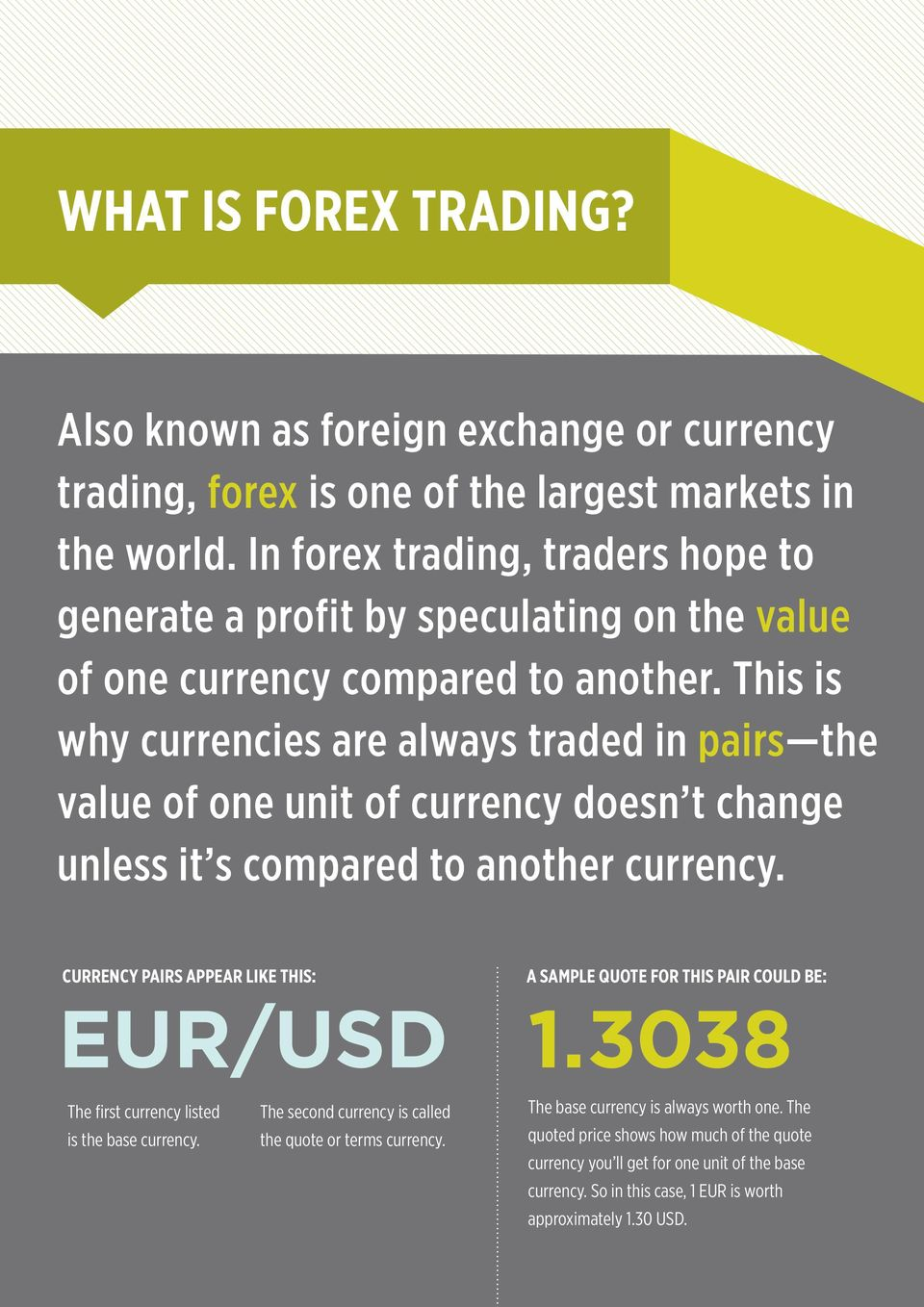 This is why currencies are always traded in pairs the value of one unit of currency doesn t change unless it s compared to another currency.