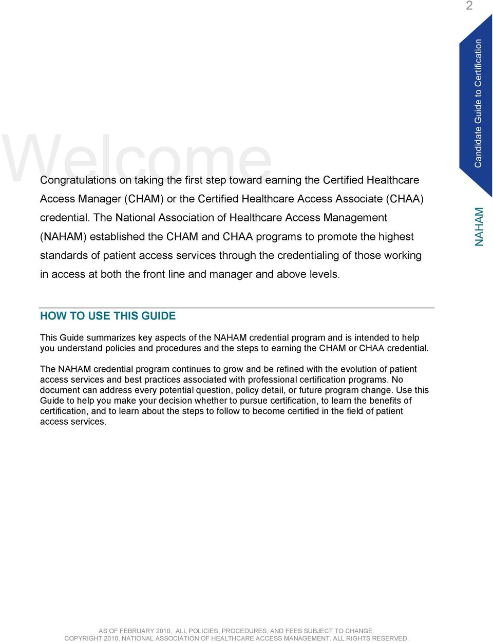 Certification National Association Of Healthcare Access Management