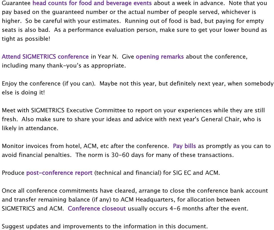 General Chair Duties for ACM SIGMETRICS Conference - PDF