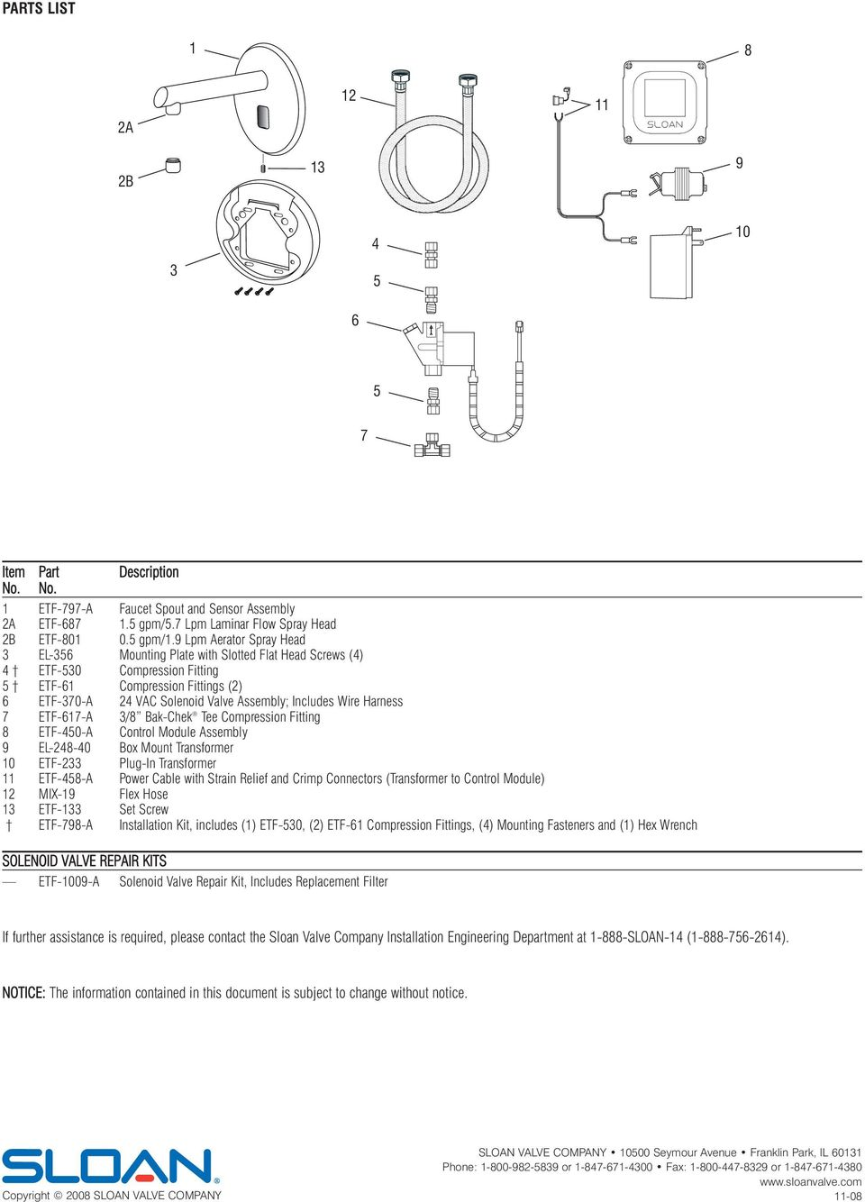 Installation Instructions For Electronic Sensor Activated Hand Diagram Of Parts Hamilton Centerset Two Handle Bathroom Faucet Harness 7 Etf 617 3 8 Ak Chek Tee Compression Fitting
