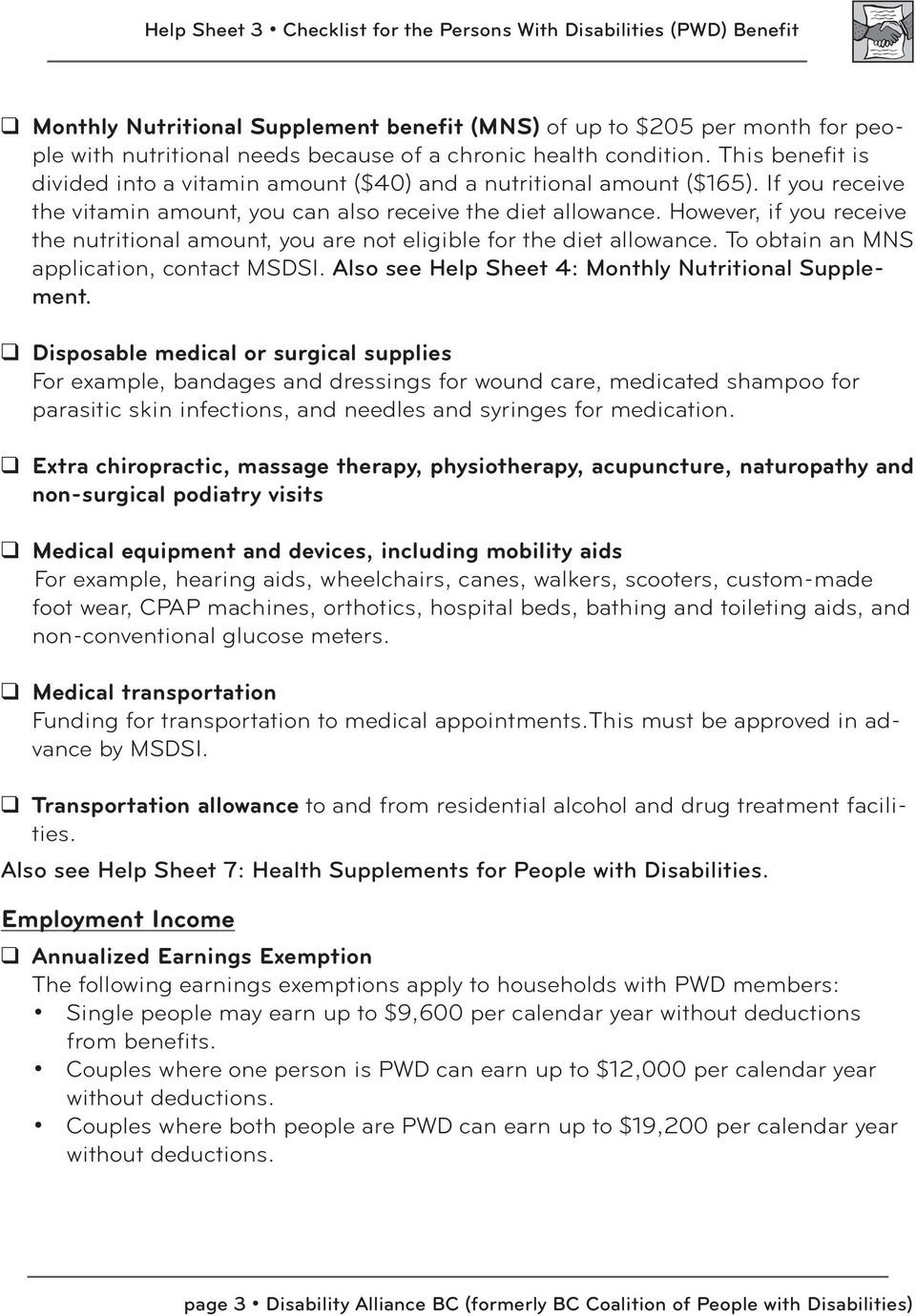 Checklist for the Persons with Disabilities (PWD) Benefit - PDF