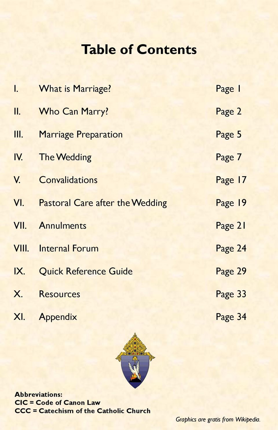 Annulments Page 21 VIII. Internal Forum Page 24 IX. Quick Reference Guide  Page 29