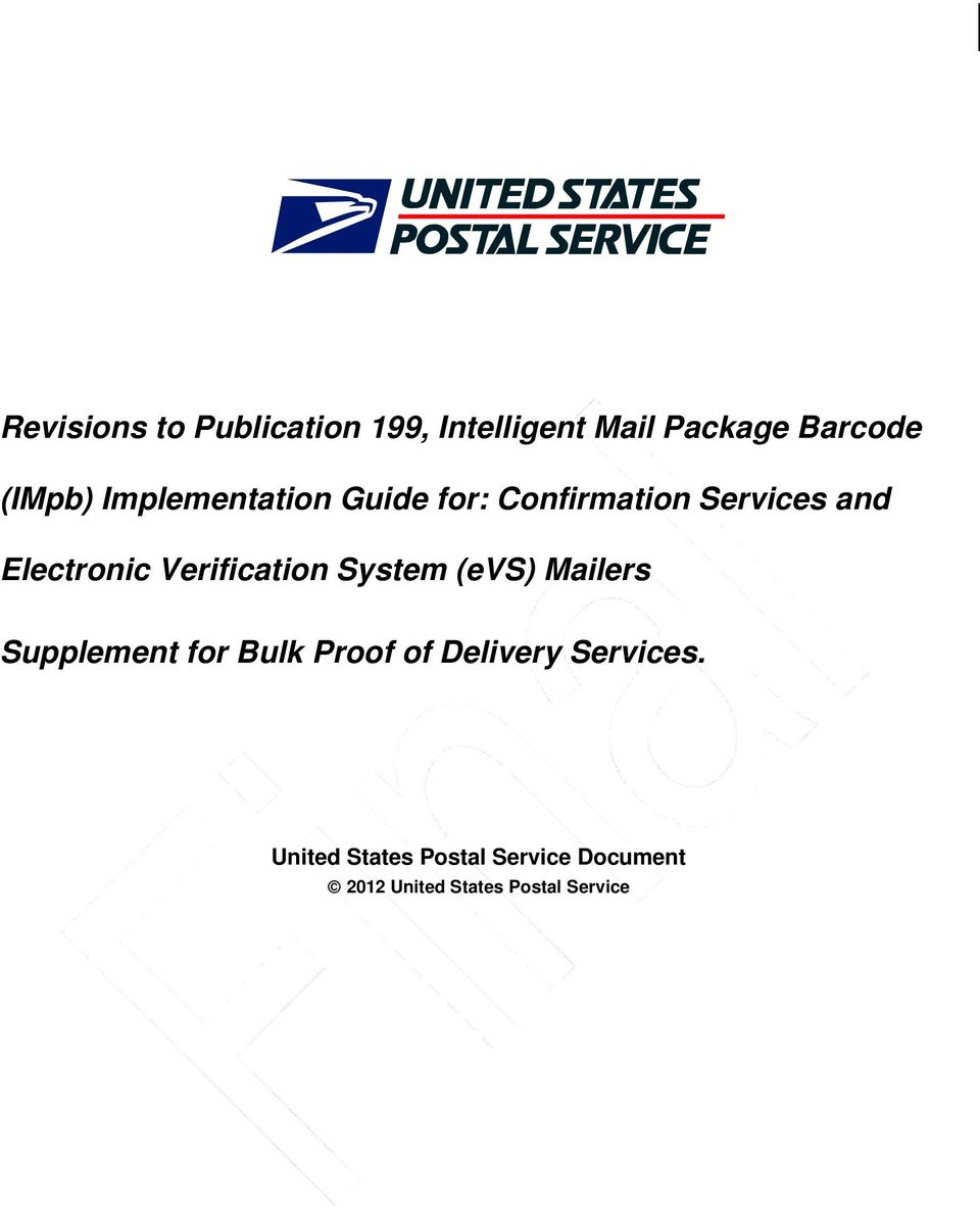 Verification System (evs) Mailers Supplement for Bulk Proof of Delivery