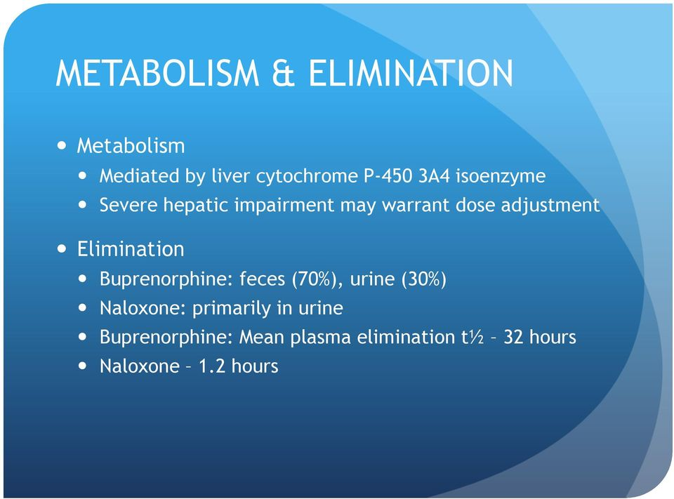 Elimination Buprenorphine: feces (70%), urine (30%) Naloxone: primarily