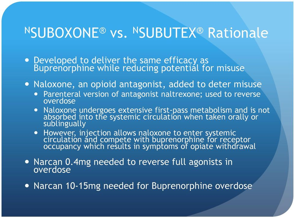 misuse Parenteral version of antagonist naltrexone; used to reverse overdose Naloxone undergoes extensive first-pass metabolism and is not absorbed into the