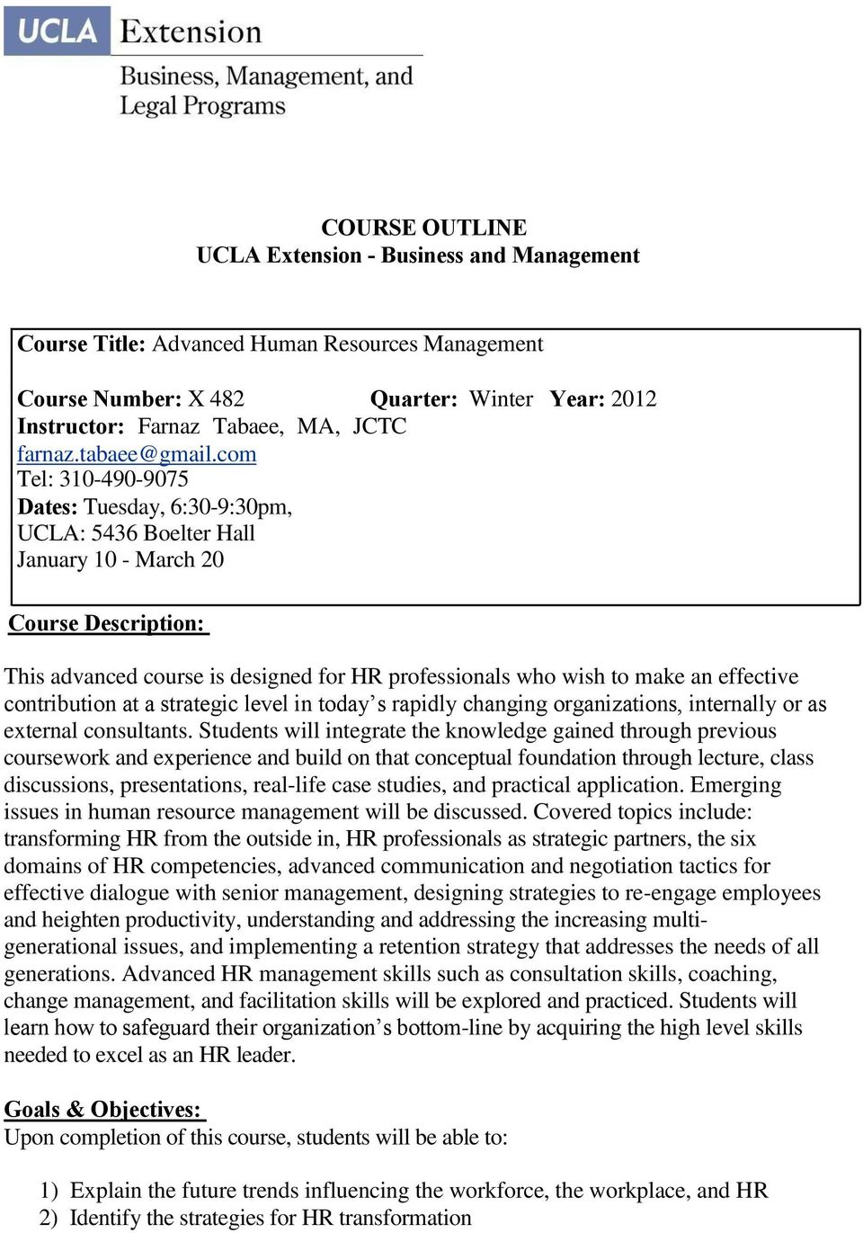 Course Outline Ucla Extension Business And Management Pdf