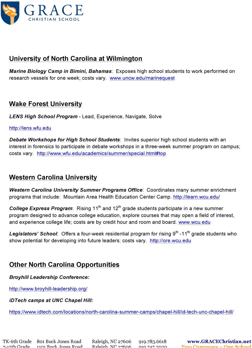 Summer Programs At Nc Colleges And Universities Pdf Free Download
