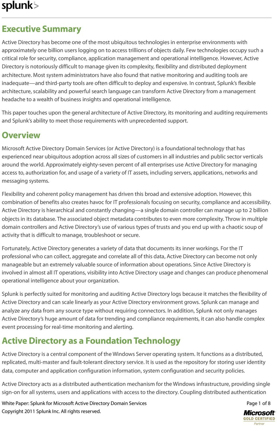 Splunk for Microsoft Active Directory Domain Services - PDF