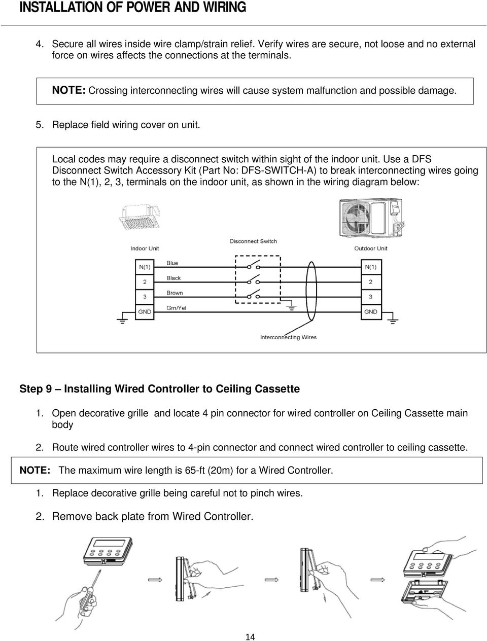 Ceiling Cassette Ductless System Pdf Force Controller Wiring Diagram Local Codes May Require A Disconnect Switch Within Sight Of The Indoor Unit