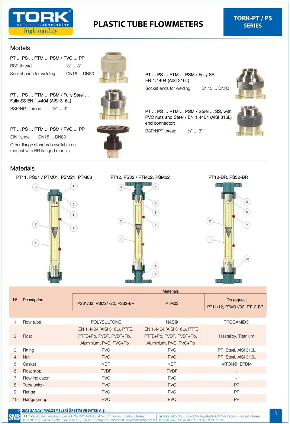 4404 (AISI 316L) Socket ends for welding PT... PS... PTM... PSM / Steel... SS, with PVC nuts and Steel / EN 1.4404 (AISI 316L) end connector: BSP/NPT thread ½... 3 DN15.