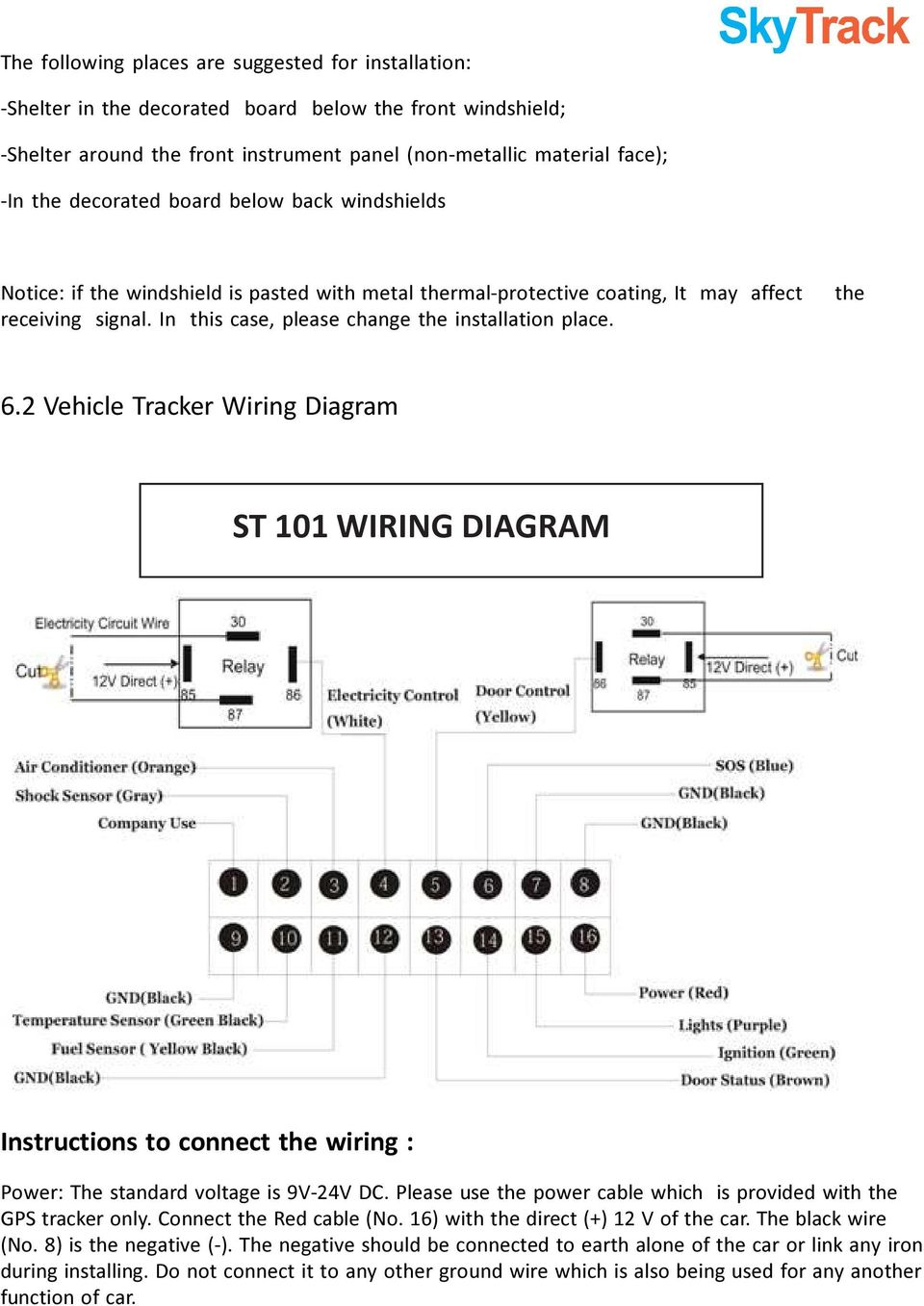 Gps Vehicle Tracker User Manual Version 20 Model St 101 V20 Wiring Diagram The 62 Instructions To Connect