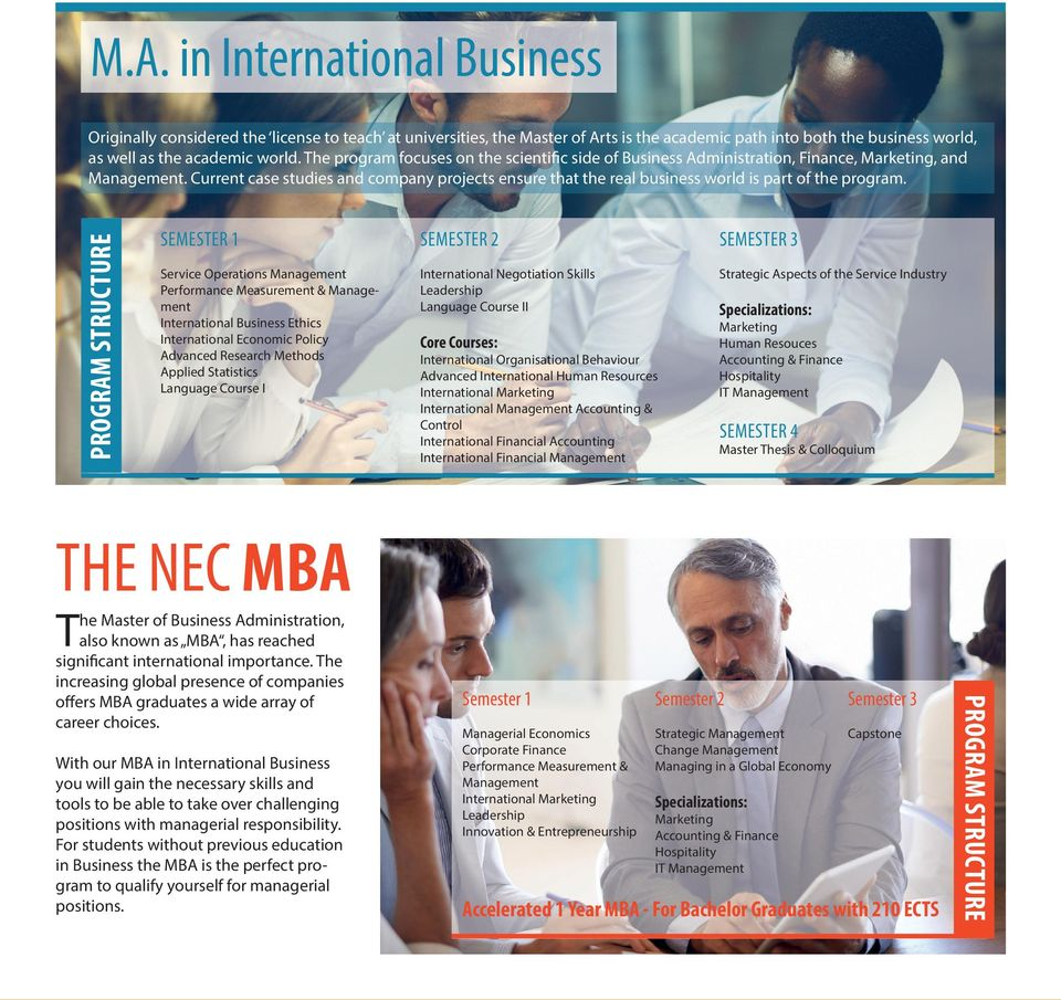 Current case studies and company projects ensure that the real business world is part of the program.