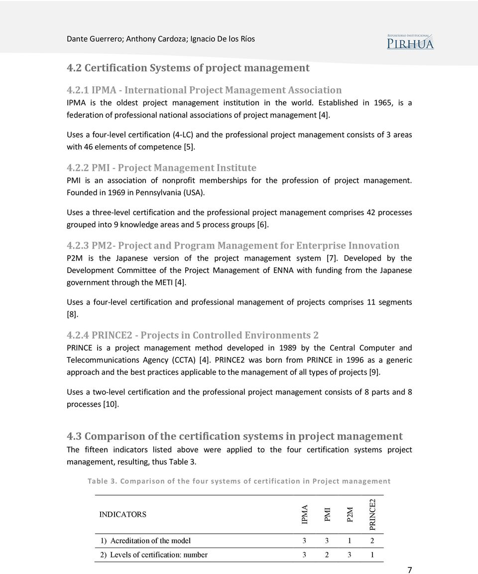 Comparison Of Professional Certification Systems For Project