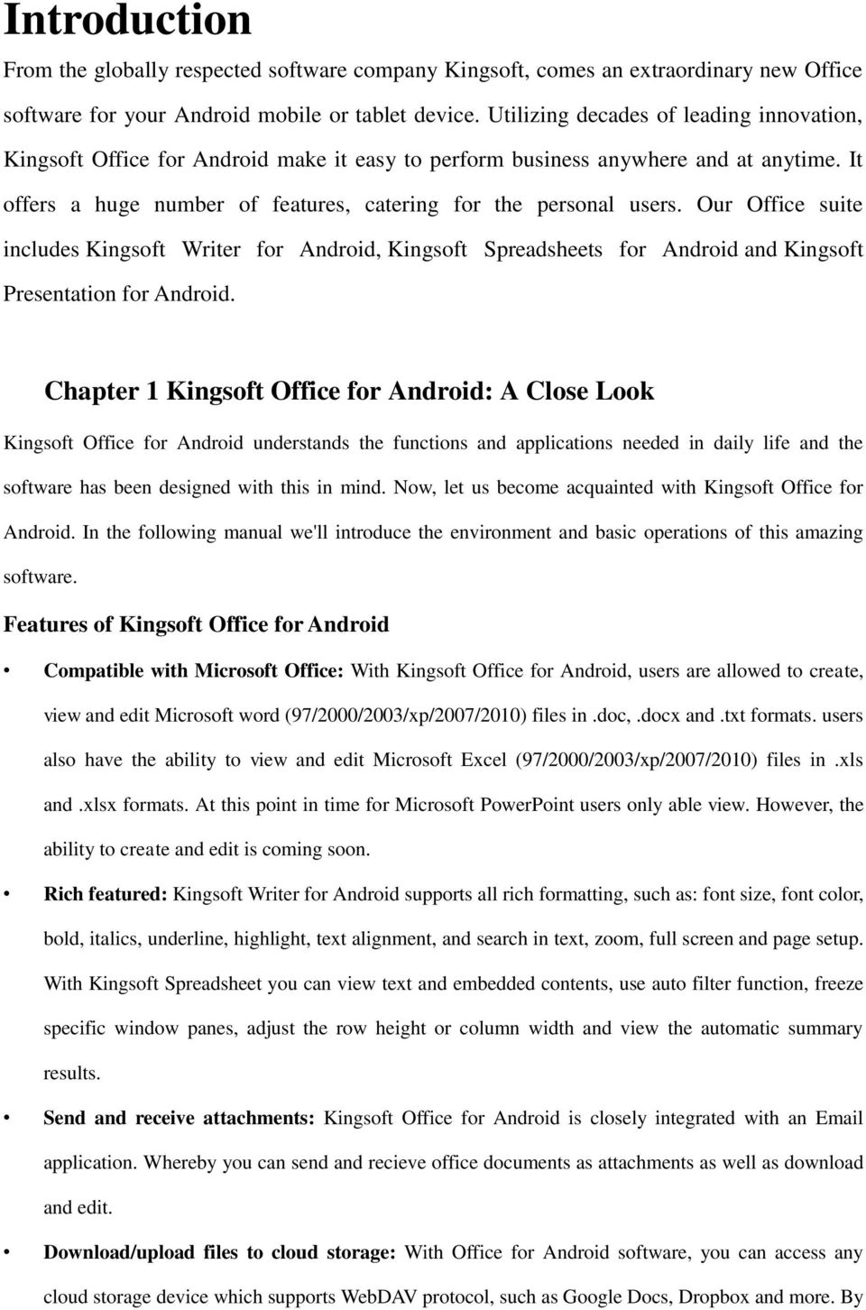 Chapter 1 Kingsoft Office for Android: A Close Look