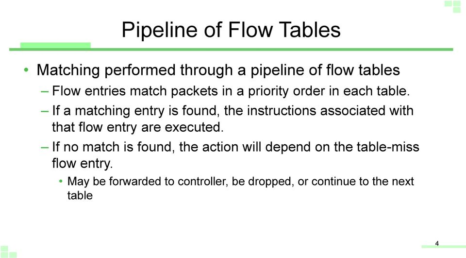 If a matching entry is found, the instructions associated with that flow entry are executed.