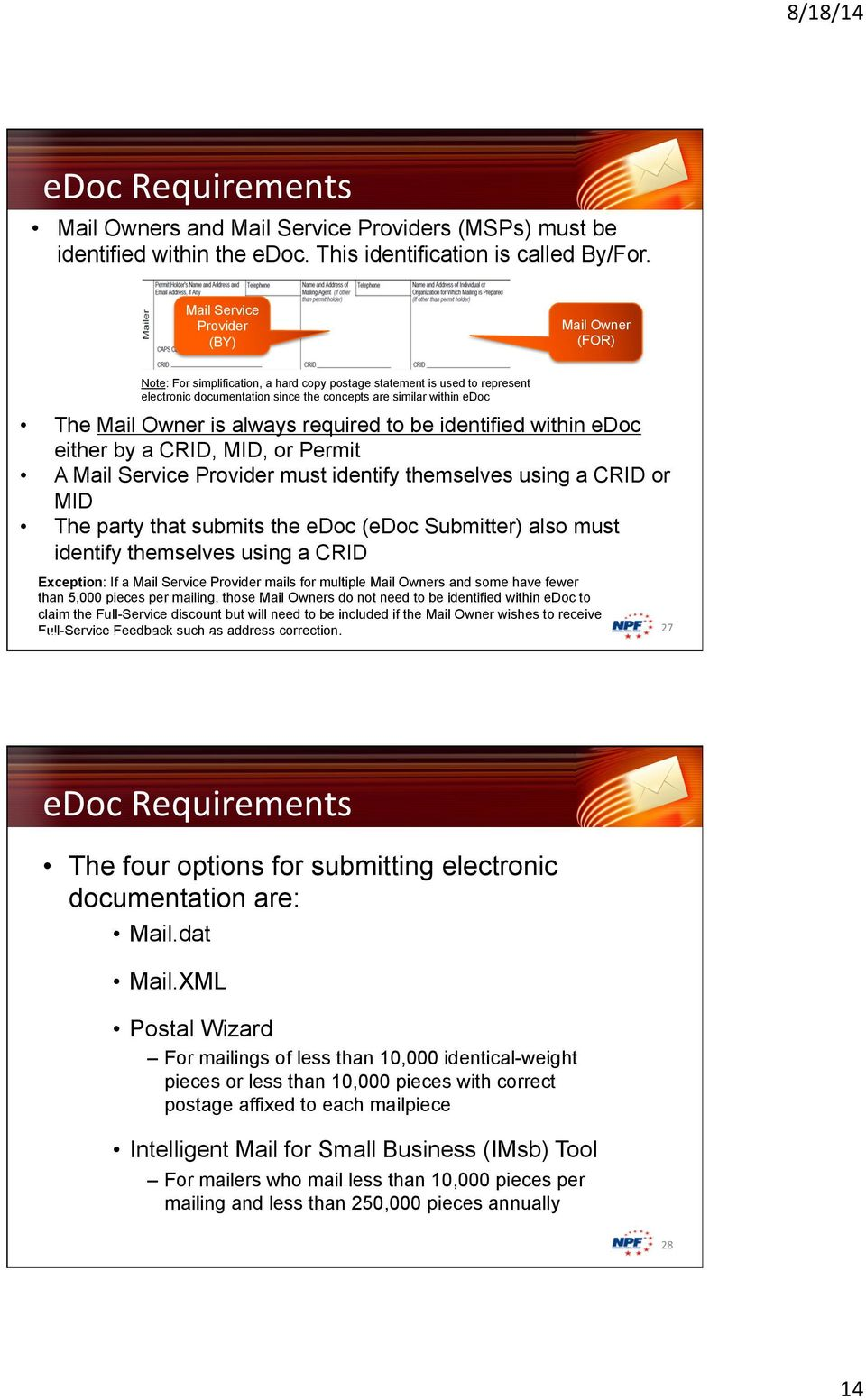 Owner is always required to be identified within edoc either by a CRID, MID, or Permit A Mail Service Provider must identify themselves using a CRID or MID The party that submits the edoc (edoc